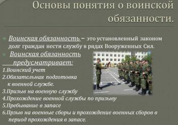 Основные понятия воинской обязанности